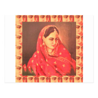 Indian beauty bride girl female woman goddess gift postcard