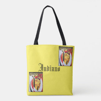 Indian beauty yellow printed tote bag
