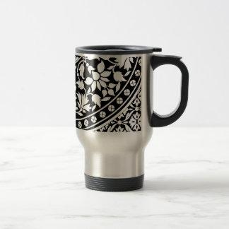 Indian Black and White Floral Geometric Pattern Travel Mug