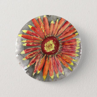 indian blanket wildflower watercolor painting 6 cm round badge