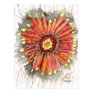 indian blanket wildflower watercolor painting postcard
