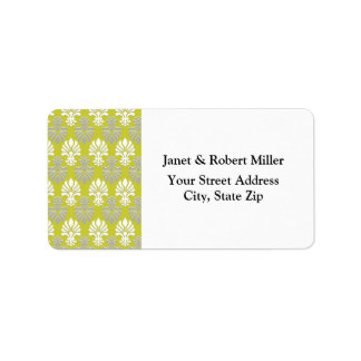 Indian Block Print Floral Pattern - Green Address Label