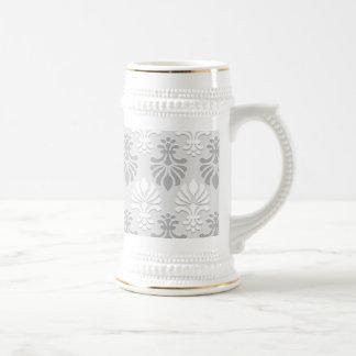 Indian Block Print Floral Pattern - Silver Grey Coffee Mug