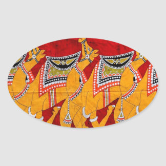 INDIAN CAMELS BATIK PAINTING OVAL STICKER