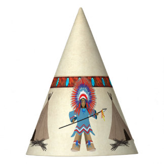 INDIAN CHIEF AND TEPEES PARTY HAT