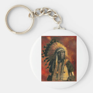 Indian_Chief Basic Round Button Key Ring