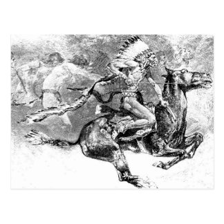 Indian chief charging on horse: American Wild West Postcard