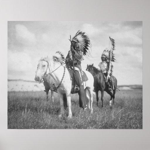 Indian Chief on Horseback, 1905 Print