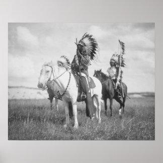 Indian Chief on Horseback, 1905. Vintage Photo Poster