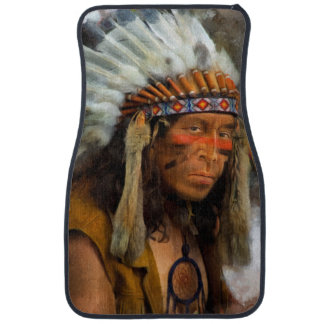 Indian Chief With Feather Headdress Printed Car Mat
