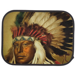 Indian Chief With Full Head Dress Printed Car Mat