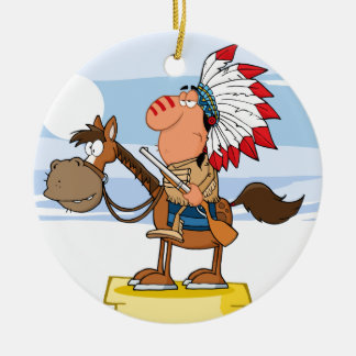 Indian Chief With Gun On Horse Ceramic Ornament