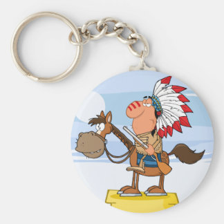 Indian Chief With Gun On Horse Keychains