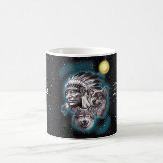 Indian Chief & Wolves Coffee Mug