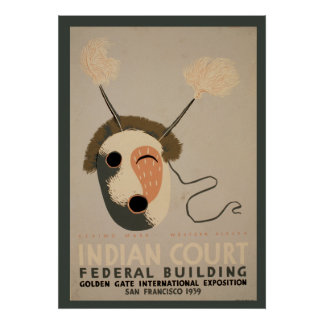 Indian Court Federal Building Eskimo Mask Golden Poster