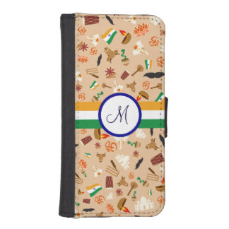 Indian cultural items with flag and monogram
