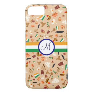Indian cultural items with flag and monogram iPhone 7 case