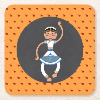 Indian dancing girl Birthday Party Square Paper Coaster