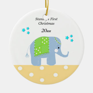 Indian Elephant Baby's First Christmas Ceramic Ornament