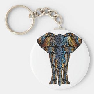 Indian elephant basic round button key ring