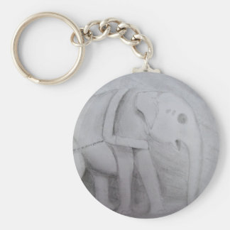 Indian Elephant Basic Round Button Key Ring