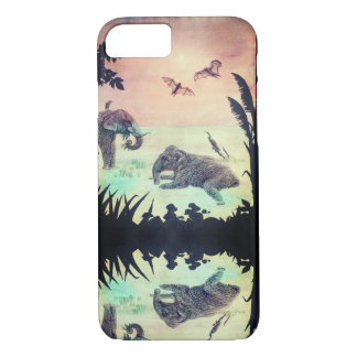 Indian Elephant bathing nature sunset silhouette iPhone 8/7 Case