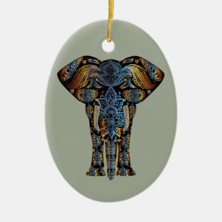 Indian elephant ceramic oval decoration