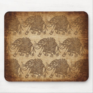 Indian Elephant Fabric Stamp on Burlap 2 Mouse Pad