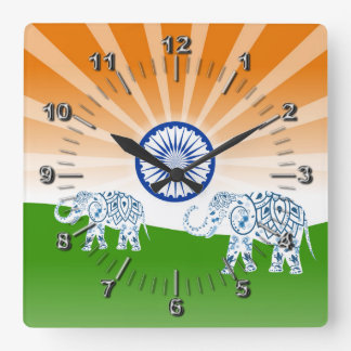 Indian elephant square wall clock