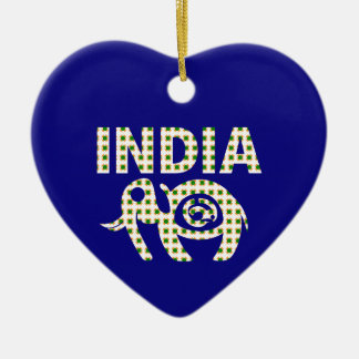 Indian Elephant with Calf Poster Ceramic Ornament
