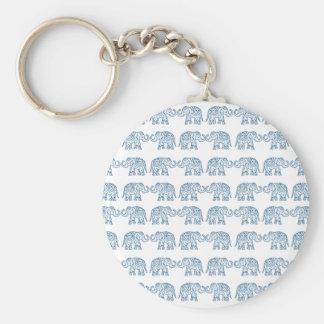 Indian elephants basic round button key ring
