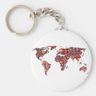 Indian Fabric Map Earth Patchwork Basic Round Button Key Ring