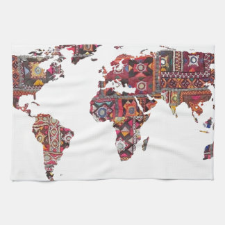 Indian Fabric Map Earth Patchwork Kitchen Towels