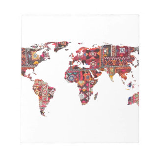 Indian Fabric Map Earth Patchwork Notepad