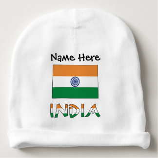 Indian Flag and India with Name Baby Beanie