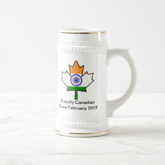 Indian Flag Maple Leaf Stein