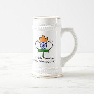 Indian Flag Maple Leaf Stein Coffee Mug