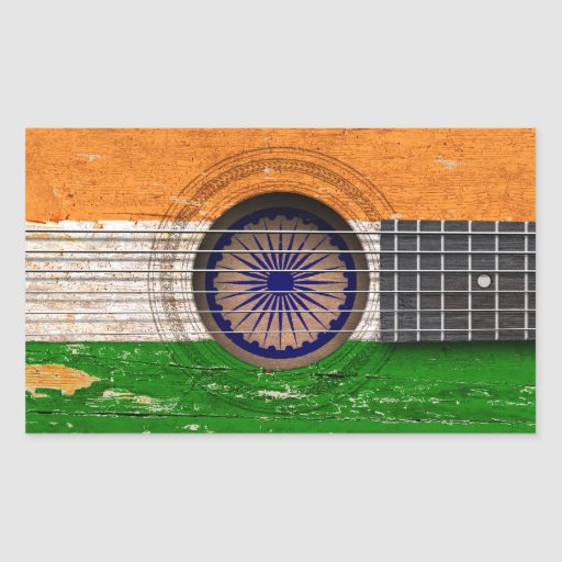 Indian Flag on Old Acoustic Guitar Stickers