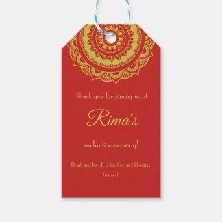 Indian Floral Gold Mehndi Design Gift Tag