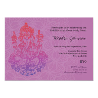 Indian Ganesh Purple Lilac Birthday Invitation