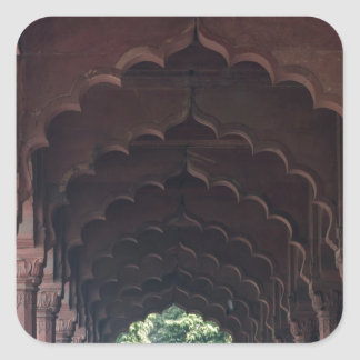 Indian Girl at Diwan-i-Aam, Red Fort, Delhi Square Sticker