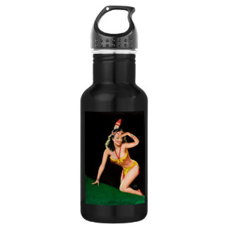Indian girl retro pinup illustration 532 ml water bottle