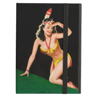 Indian girl retro pinup illustration case for iPad air