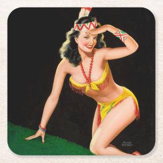 Indian girl retro pinup illustration square paper coaster