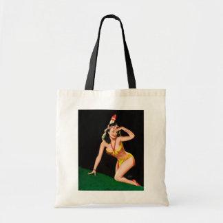 Indian girl retro pinup illustration tote bag