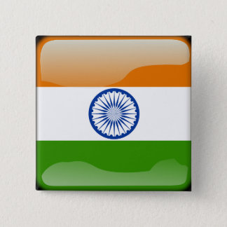 Indian glossy flag 15 cm square badge