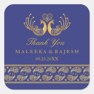 Indian Gold Pattern Modern Wedding Favor Sticker