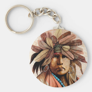 Indian Head Basic Round Button Key Ring