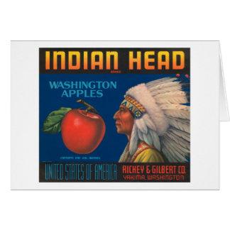 Indian Head Washington Apples Vintage Crate Label Greeting Card