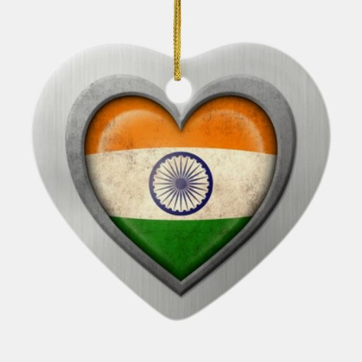 Indian Heart Flag Stainless Steel Effect Christmas Ornaments